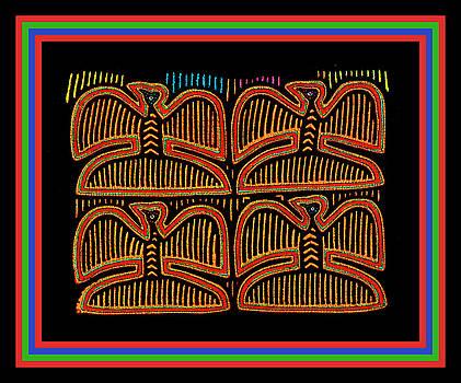 Four Pigeons at Sunset - Kuna Indian Folk Art by Vagabond Folk Art - Virginia Vivier