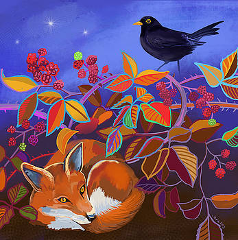 Fox and blackberries by Jane Tomlinson