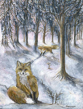 Foxes in snow by Angel Ciesniarska