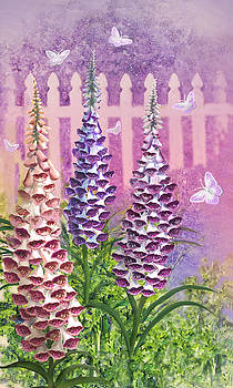 Foxgloves 'n Butterflies by Lois Mountz