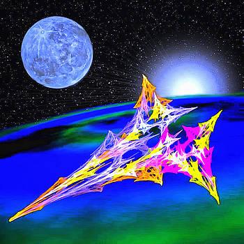 Fractal Spaceship Over Fractal Globe by Mario Carini
