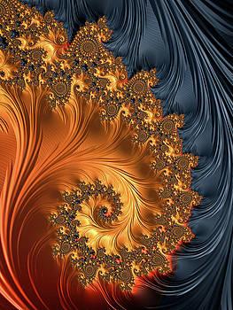 Fractal spiral orange golden black by Matthias Hauser