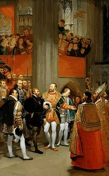 Fran Ois I And Charles V Visiting The Church Of Saint Denis 1812 by Gros AntoineJean