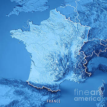 France Country 3D Render Topographic Map Blue Border by Frank Ramspott