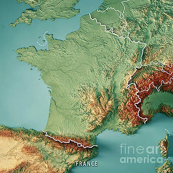 France Country 3D Render Topographic Map Border by Frank Ramspott