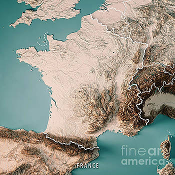 France Country 3D Render Topographic Map Neutral Border by Frank Ramspott