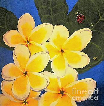 Frangipani with lady bug by Sandra Phryce-Jones