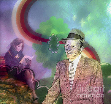 Frank Sinatra On Artificial Spring Background by Algirdas Lukas