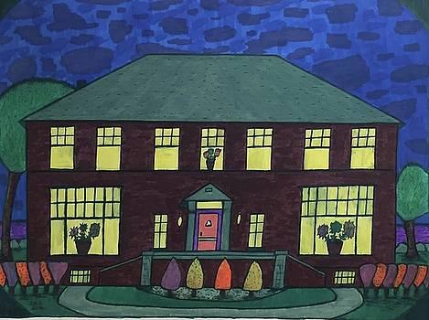 Frank Spies Home. Historical Menominee art. by Jonathon Hansen