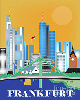 Frankfurt Germany Vertical Skyline by Karen Young