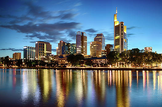 Frankfurt Skyline at night by Marc Huebner