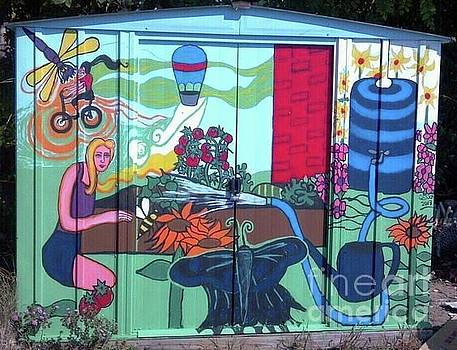 Franz Park Community Garden Shed Mural by Genevieve Esson