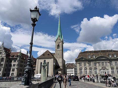 Fraumunster from Munsterbrucke in Zurich Switzerland by Louise Heusinkveld