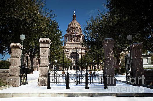 Herronstock Prints - Freak Austin, Texas snow storm paints the Texas State Capitol white with snow