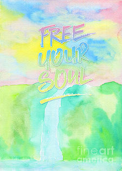 Beverly Claire Kaiya - Free Your Soul Watercolor Colorful Spring Waterfall Painting