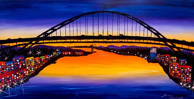 Fremont Bridge At Dusk #14 by Portland Art Creations
