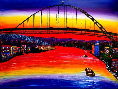 Fremont Bridge At Dusk #15 by Portland Art Creations