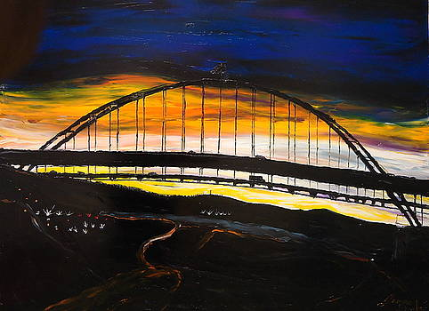Fremont Bridge By Night by Portland Art Creations