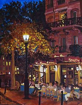 French Bistro at Night by Fran Steinmark