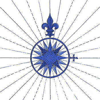 Tina Lavoie - French Blue Compass Nautical Art