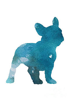 French bulldog, Turquoise Home Decor, Dog watercolor by Joanna Szmerdt