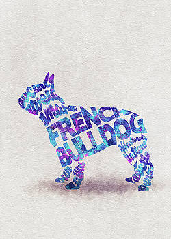 French Bulldog Watercolor Painting / Typographic Art by Ayse and Deniz