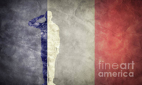 Michal Bednarek - French grunge flag with soldier silhouette.