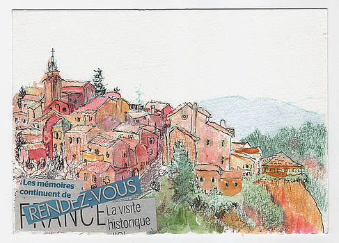 French hill top village by Tilly Strauss