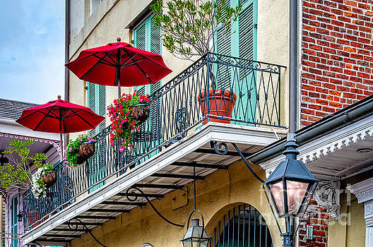 French Quarter Balcony and Umbrellas - NOLA by Kathleen K Parker