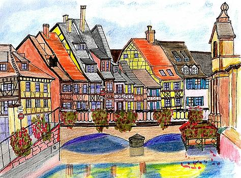 French Village on the River by Paul Meinerth