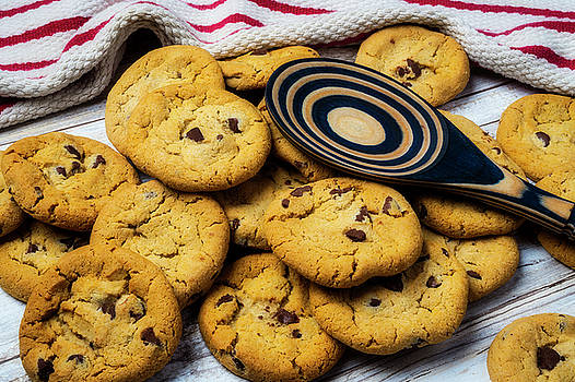 Fresh Baked Cookies And Wooden Spoon by Garry Gay