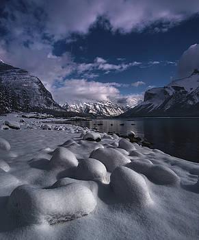 Fresh Snow at Lake Minnewanka  by Cale Best
