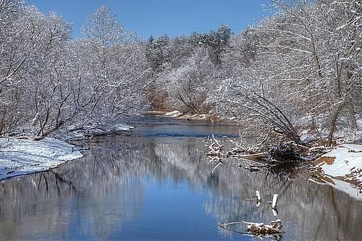 Fresh Snowfall on Valley River by Jim Allsopp