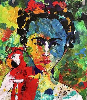 Frida and Parrot Uno by Elaine Elliott