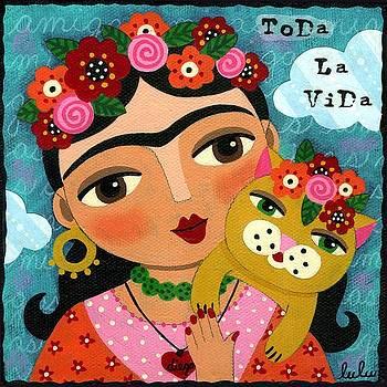 Frida Kahlo and Cat by LuLu Mypinkturtle