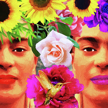 Frida Kahlo and Flowers  by Stacey Chiew