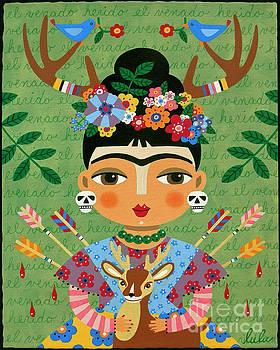 Frida Kahlo with Antlers and Deer by LuLu Mypinkturtle