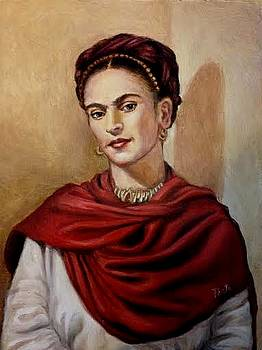 Frida Kalo Wearing a Red Shawl by June Ponte