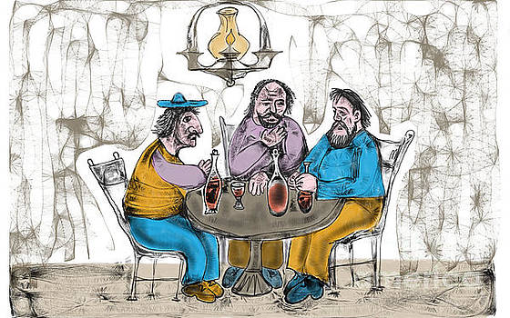 Friends in a pub by Milen Litchkov