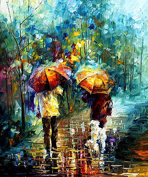 Friends With A Dog - PALETTE KNIFE Oil Painting On Canvas By Leonid Afremov by Leonid Afremov