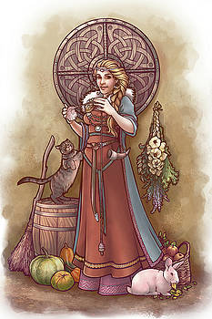 Frige and Her Drop Spindle by Dani Kaulakis