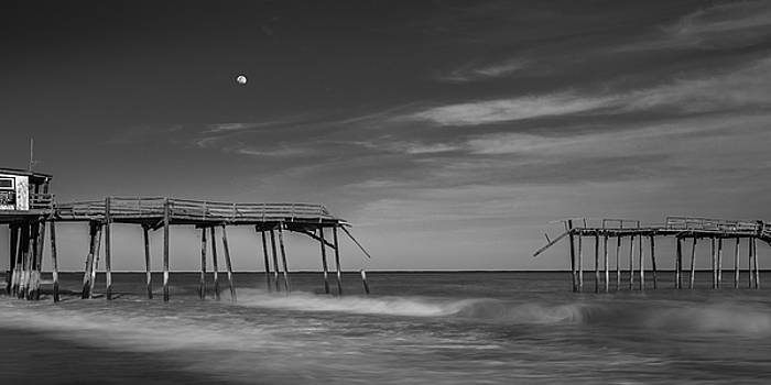 Ranjay Mitra - Frisco Fishing Pier and Moon in Black and White Panorama