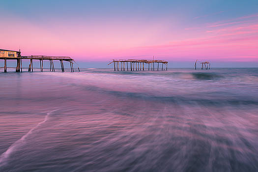 Ranjay Mitra - Frisco Pier and Atlantic Beach Waves at Sunset