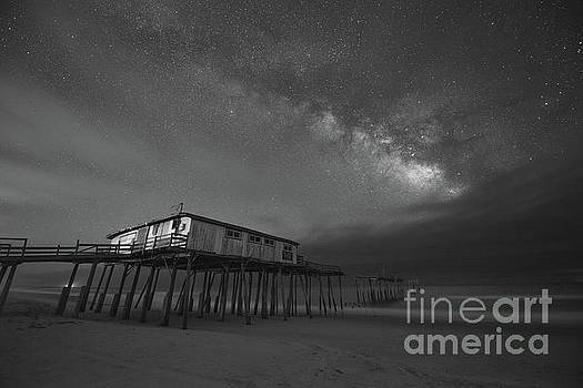 Frisco Pier Under The Milky Way BW by Michael Ver Sprill