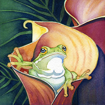Frog In Gold Calla Lily by Lyse Anthony