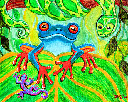 Nick Gustafson - Frog Snake and Gecko in the Rainforest