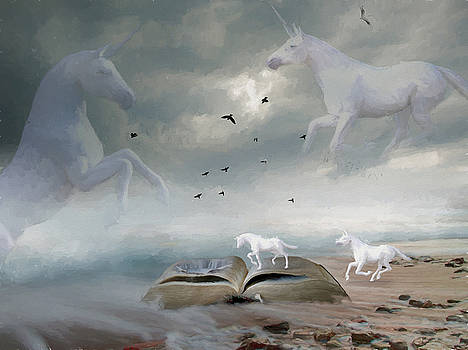 From the Book of Unicorns - Painting by Ericamaxine Price
