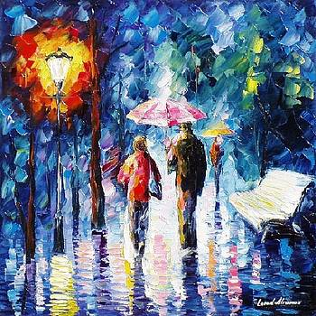 From The Rain - PALETTE KNIFE Oil Painting On Canvas By Leonid Afremov by Leonid Afremov