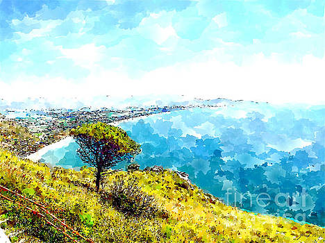From the tempio di Giove Anxur landscape with pine tree, sea and coastline by Giuseppe Cocco