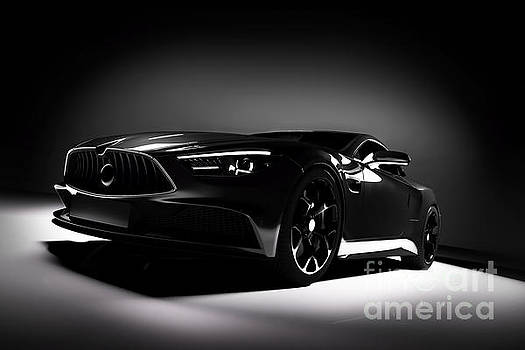 Michal Bednarek - Front view of modern black sports car in a spotlight.